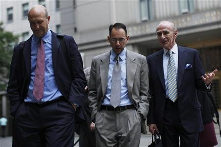 Former UBS AG banker Peter Ghavami  leaves the Manhattan Federal Court in New York July 24, 2013. He and two other UBS traders were given prison terms for fraud related to municipal bonds.  REUTERS Eduardo Munoz