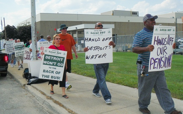 DWSD workers protest at Huber facillity Aug.15, 2012.