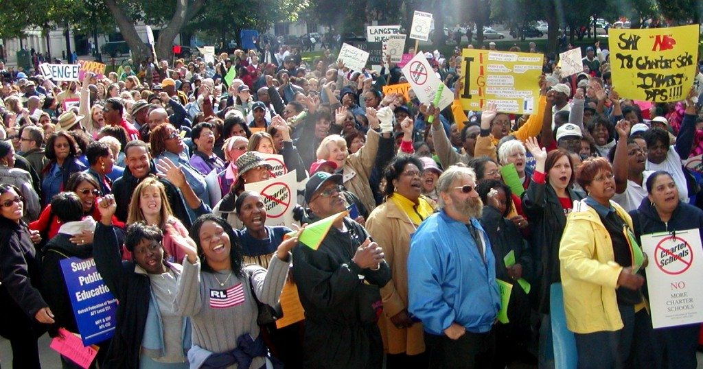 Detroit teachers struck for one day in 2001 to attend this massive protest in Lansing against charter school legislation.