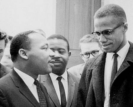 Dr. Martin Luther King, Jr. and Malcolm X meet; their goals were not far apart.