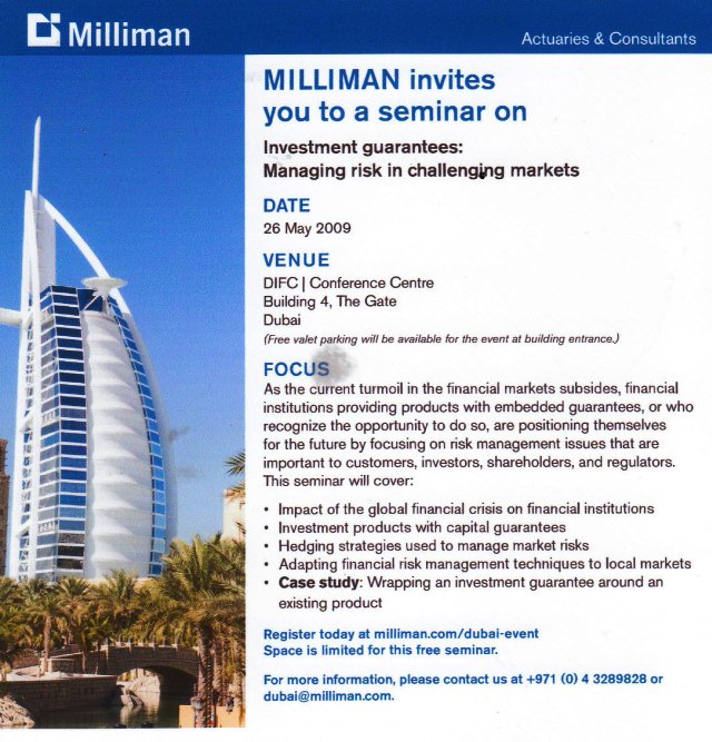"""Milliman execs stayed in """"the world's most expensive hotel"""" for this conference; now Milliman has established an office in wealth capital Dubai."""