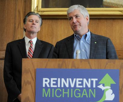 Michigan State Treasurer Andy Dillon and Gov. Rick Snyder