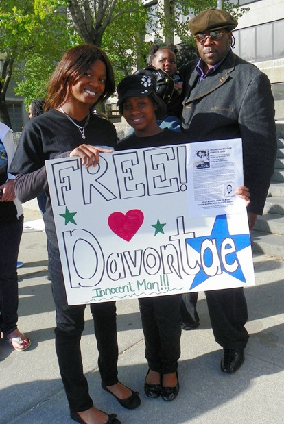 Davontae's stepfather Jermaine Tillmon and his sisters at rally with Aiyana Jones family April 23, 2012.