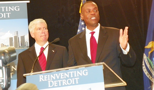 """Detroit EM Kevyn Orr announced July 19 at this press conference that he would propose """"retirees committee"""" to subvert role of pension systems in bankruptcy filing."""