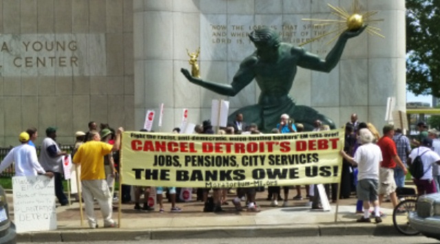 Protesters at the Coleman A. Young Municipal Center July 26, 2013 denounce criminal banks.