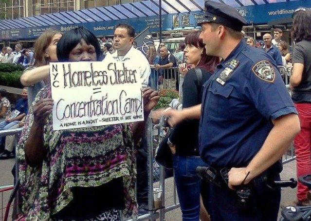 Homeless woman protests shelters in NYC.