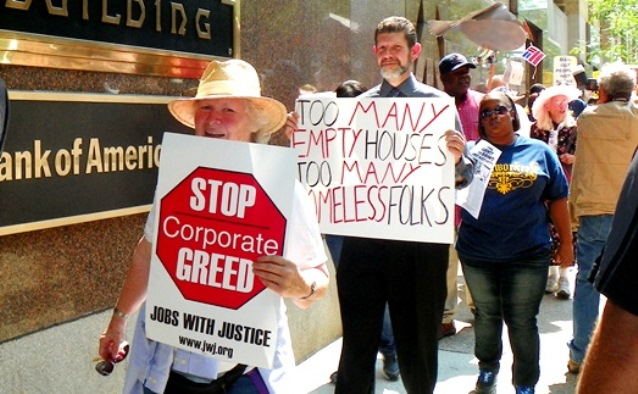 Protesters at Bank of America Aug. 19, 2013 joined retirees' march outside bankruptcy courtroom the same day.