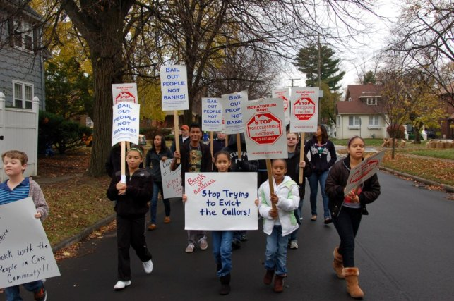 March in the Detroit neighborhood of the Cullors family, which faced eviction by BOA, on Nov. 10, 2012.