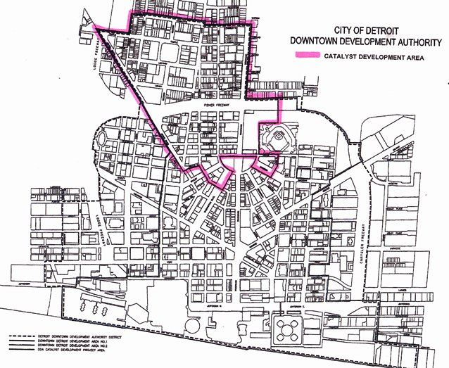 MAP OF PROPOSED EXPANSION OF DDA DISTRICT (ALL AREA N. OF I-75), WITH ILLITCH PROJECT AREA OUTLINED IN PURPLE. HOCKEY ARENA WOULD BE W. OF WOODWARD, S. OF TEMPLE, EAST OF CASS, N. OF 1-75.