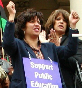 Former DFT Pres. Janna Garrison and former Councilwoman Sharon McPhail at 2001 rally against charter schools in Lansing.
