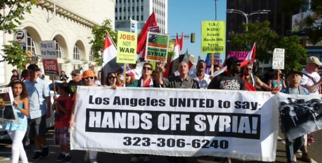 Los Angeles rally against war on Syria.