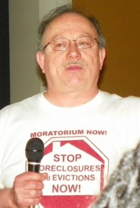 Objector Mike Shane at rally vs. banks May 4, 2013.