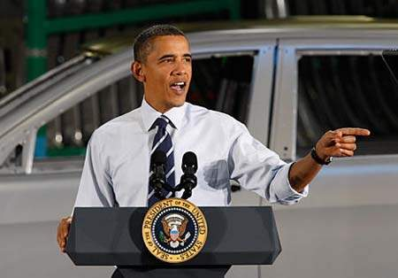 U.S. Pres. Barack Obama at Detroit area Chrysler plant after company declared bankruptcy in 2010. The feds bailed out GM and Chrysler with billions of taxpayer dollars.