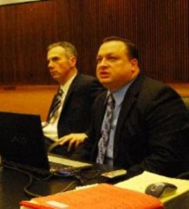 Wayne Co. Asst. Prosecutors Robert Moran and Patrick Muscat. Moran is prosecuting both Aiyana Jones' father Charles and her killer cop Joseph Weekley, while Muscat prosecuted Sanford during evidentiary hearing.