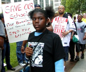Detroit children have been protesting tidal wave of school closings, beginning with 50 in 2004, long before other cities were hit. This photo shows protest July 1, 2004.