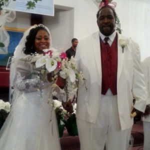 Davontae's parents Taminko Sanford-Tilmon and Jermaine Tilmon at their wedding in July.