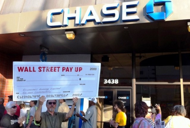 Protest in 2010 against Chase and We.lls Fargo in Fruitvale neighborhood of Oakland, CA