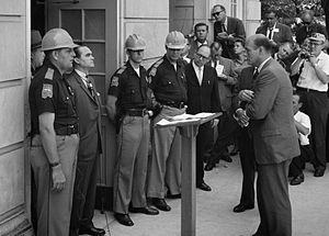 Former Ala. Governor George Wallace confronts US AG at doors of Univ. of Alabama to stop integration. Now Orr is turning federal government protection for civil rights on its head, trying to use the feds against the majority Black city of Detroit.