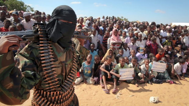 Al Shabaab fighter attends rally in Somalia.