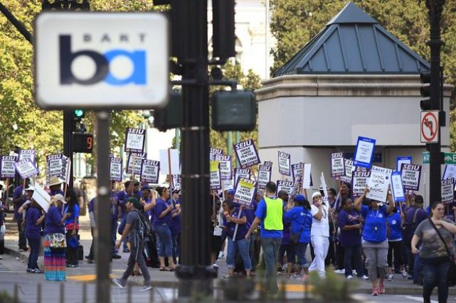 BART workers on strike in California's San Francisco Bay area.