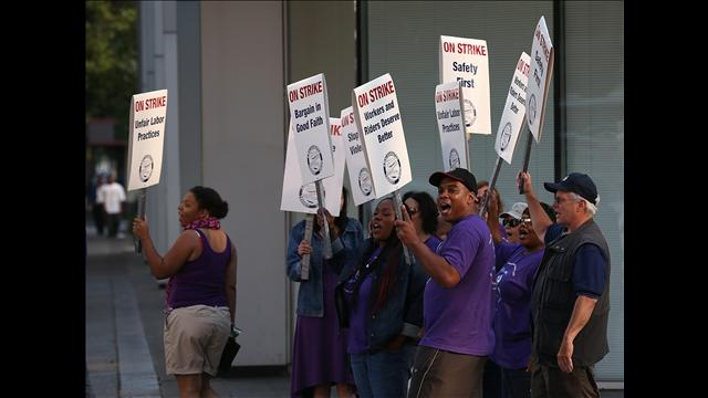 BART workers walk picket line.