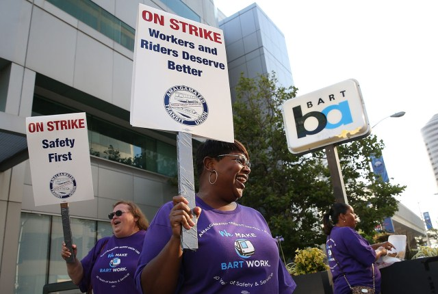 "BART workers demand ""Safety First."""