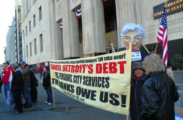 Cancel the Debt banner has been at every rally against EM Orr and bankruptcy case.