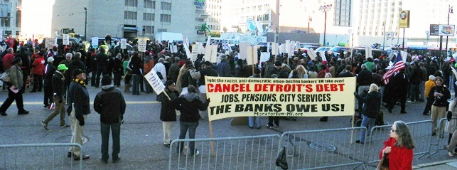 Crowds took the streets outside federal courthouse to stop Detroit bankruptcy Oct. 23, 2013.