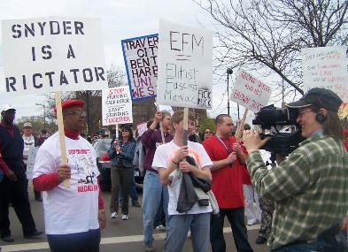 Protest against Gov. Snyder and EM law in Benton Harbor, one of its first victims.