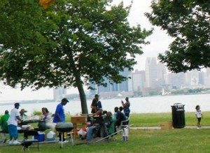 Family picnics on Belle Isle.