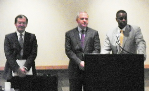Kevyn Orr (r) with advisors from Buckfire and Jones Day firms June 14, 2013 as he lays out Proposal to Creditors.