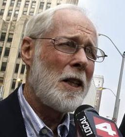 Detroit resident Bill Hickey objected to bankruptcy at hearing.