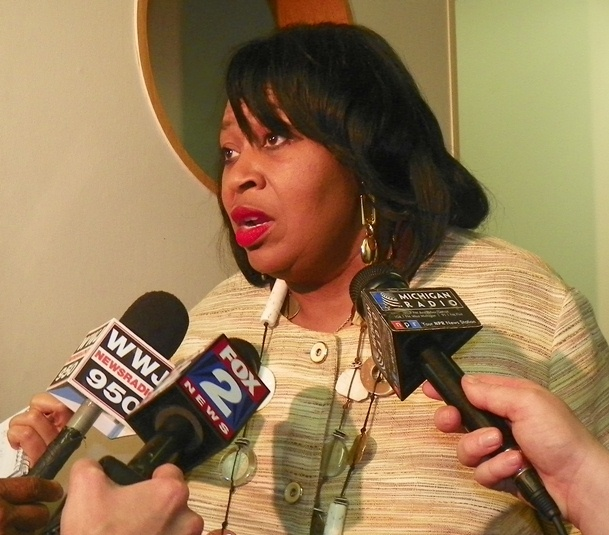 Councilwoman Brenda Jones talks to reporters after Oct. 1 meeting.