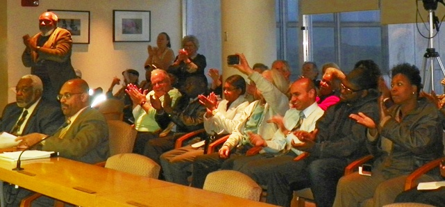 Crowd applauds City Council vote Oct. 21, 2013; their tune may change Oct. 23.