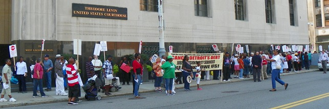 Bankruptcy protesters outside federal building Aug. 19, 2013.