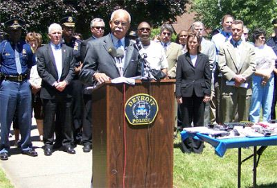 Former Detroit police chief Warren Evans in anti-crime press conference in affluent Grandmont-Rosedale neighborhood with federal, state, county police officials, June, 2010 Photo by Diane Bukowski