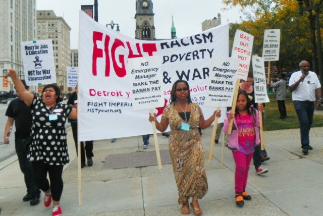 Some of the hundreds who marched in downtown Detroit with the International People's Assembly Oct. 5 and 6. Instead of bankruptcy proceedings, they demand cancellation of Detroit's debt.