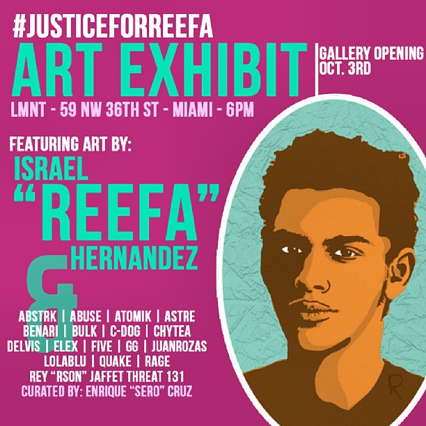 Justice for Reefa art exhibit