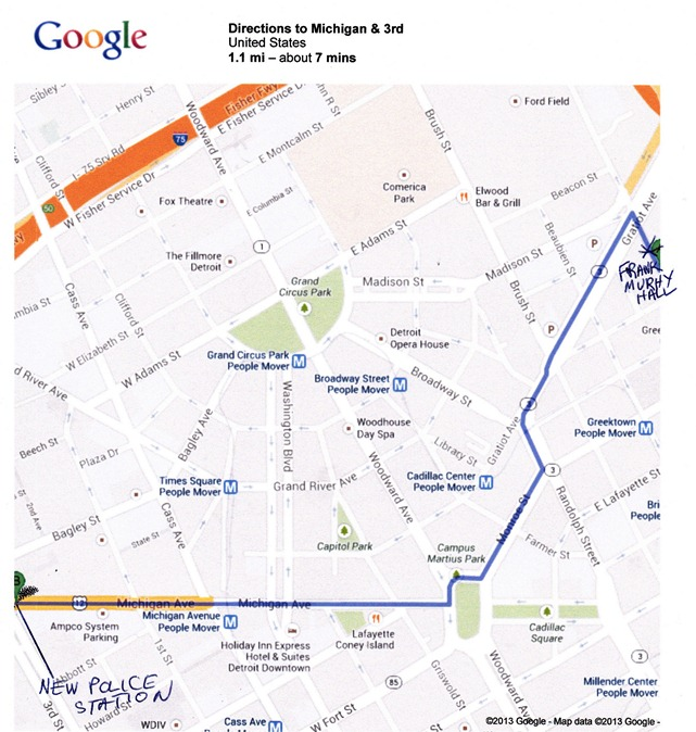 Route of march from Frank Murpy Hall to new police headquarters, where Chief Craig has his office.
