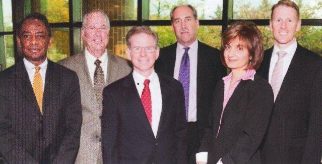 Pro-EM forum Oct. 20, 2013: (l to r) Frederick Headen, Edward Plawecki, Judge Steven Rhodes, Douglas Bernstein, Judy O'Neill, Charles Moore.