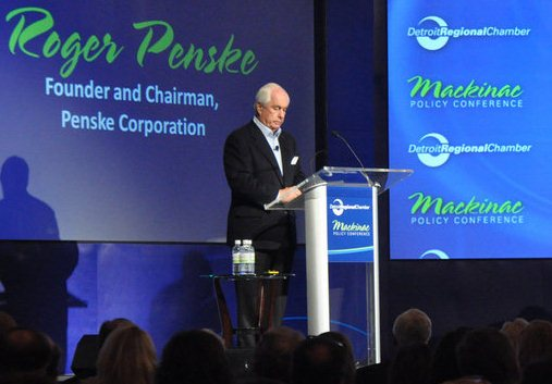 Roger Penske at Mackinac Policy Center conference. Penske profits greatly every year from the Grand Prix event on Belle Isle.