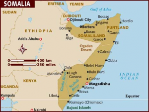 Map of Somalia on the African continent.