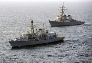 U.S. and British warships in Gulf of Aden, 2011.