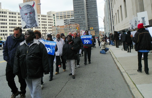 Detroit city retirees and supporters protest outside court as Gov. Rick Snyder testifies Oct. 28, 2013.
