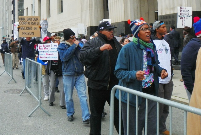 Oct. 28 protest at federal courthouse in Detroit.