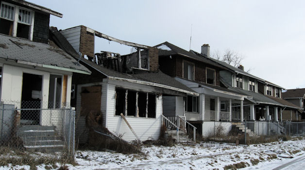 East-side Detroit neighborhood destroyed by massive predatory lending and foreclosures.