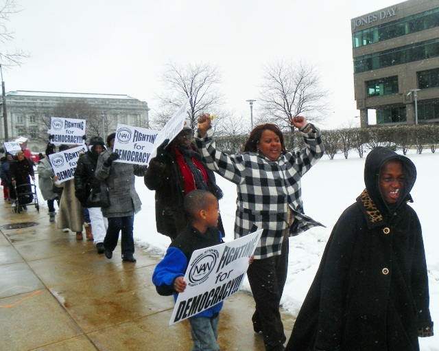National Action Network march outside Jones Day Cleveland offices March 25, 2013.