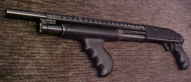 Mossberg 500A 12 gauge pistol grip pump shotgun like that used by Wafer to kill McBride, who was unarmed.