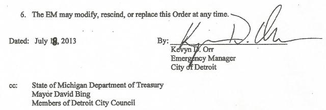 Orr also changed the date on his Executive Order declaring Bankruptcy.
