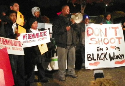 Yusef Shakur addresses rally Nov. 7 at outset.